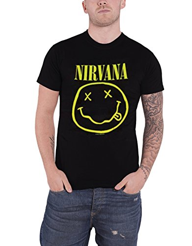 Nirvana T Shirt Smiley Face Band Logo Official Mens Black