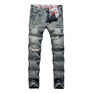 Keybur Men's Ripped Slim Straight fit Broken Hole Tapered Leg Jogger ...