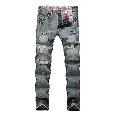 Keybur Men's Ripped Slim Straight fit Broken Hole Tapered Leg Jogger Pants