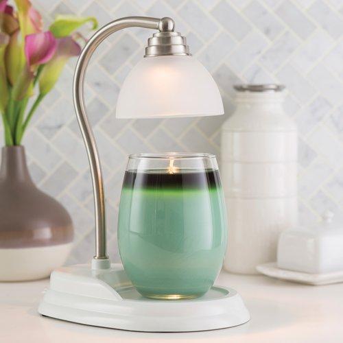 Candle Warmers Aurora Lampe für Duftkerzen im Glas weiß/Silber