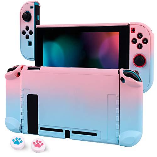 CHIN FAI Dockable Hülle für Nintendo Switch Hard Shell Schutzhülle für Nintendo Switch Console & Joy-Con Controller mit 2 Stäben (Blau-Rosa)