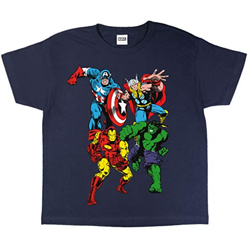 Popgear, Camiseta Marvel para Niño, T-Shirt Marvel Comics Oficial, 2-13 Años, Color Azul Marino