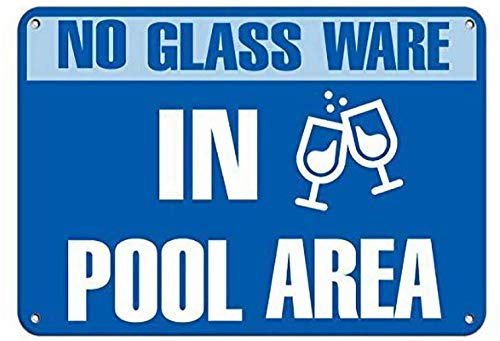 No Glass Ware In Pool Area Classic Art Vintage Metal Tin Sign Fashion Cool objetos decorativos exhibidores objetos colgantes regalos 20 x 30 cm