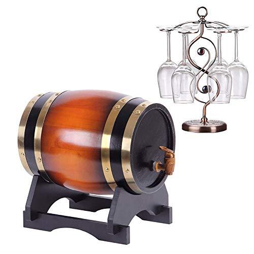 GAXQFEI Vintage Wood Oak Barril Barril Barril Vino Whi Barril de Alenamiento para Cerveza Whi Ron Puerto, 3 Litros Roble Alenamiento Barril Barril Barril Aluminio Liner Wine, Cerveza, Sidra, Whi,D,3L
