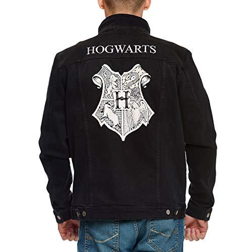 Elbenwald Harry Potter Jeansjacke Hogwarts Wappen Rückenprint und Emblem auf der Brust Knopfverschluss für Herren schwarz - XXL