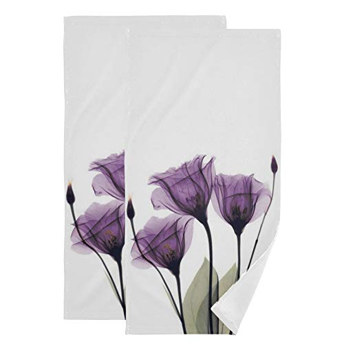 Tulip Lavender Hand Towels Purple Flowers Towel Set of 2 Spring Summer Small Bath Towels Soft Guest Face Towel Bathroom Decorations Thin Kitchen Tea Dish Towels 14x28 in