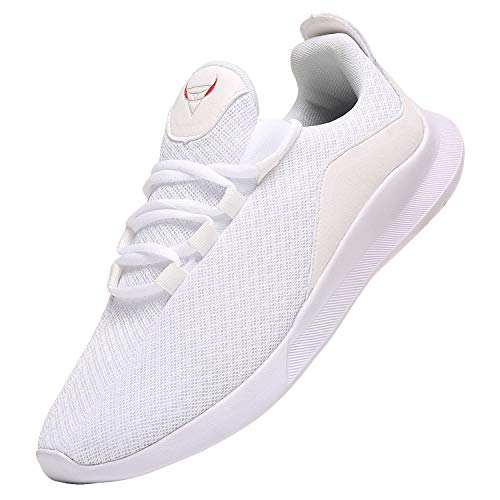 PAGCURSU Scarpe da Ginnastica Tennis Casual Sportive Uomo Offerta, Leggere Sneakers Scarpa Running Uomo, Bianco, 46 EU