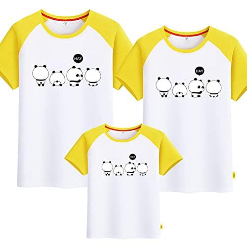 SANDA T-Shirt Punto Mujer,Kindergarten Servicio de Clase Padre-niño Vestido Camiseta Tarjeta Panda Familia Tres Cuatro Hembra Femenina Madre e Hijo Ropa Completa Completa-Linea Blanca_Niños 130