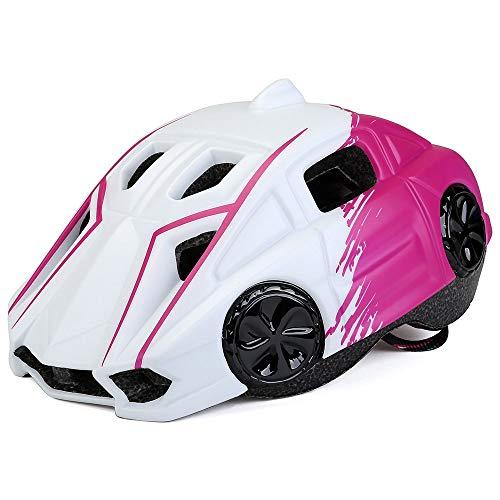 Sebasty Integralhelme Kinderhelm Shockproof Sunscreen Outdoor Sports Bike Integrierte Leiste mit leichtem Reithelm (Color : Pink)