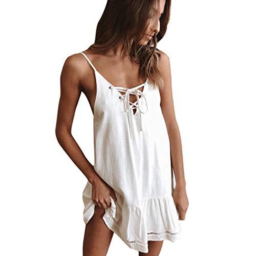 manadlian Femme Robe Casual Été Florale Robe de Plage sans Manches Tunique Mini Robes Elégante Robes de Soirée Clubbing pour Vacances