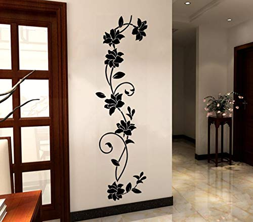 COVPAW® Wandtattoo Wandaufkleber XXL Blumen Ranke Rose Wandsticker Wandbild Bilder Wohnzimmer Schlafzimmer Deco
