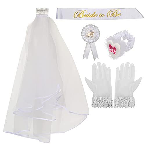 Novia para ser decoración Set velos nupciales ligas broche gafas guantes tatuajes temporales Banner para novias despedida de soltera faja para boda
