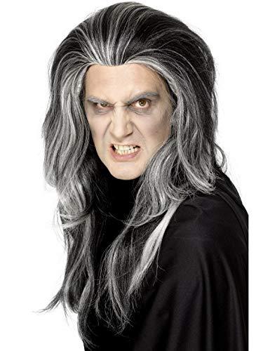 erdbeerclown - Kostüm Accessoires Zubehör wellige Herren Langhaar Perücke Gothic GRAF mit Grauen Strähnen im Vampir Dracula Stil, perfekt für Karneval, Fasching und Fastnacht, Schwarz