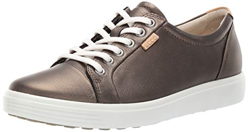 ECCO Women's Soft 7 Sneaker, Black Stone Metallic, 9-9.5