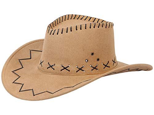Sombrero Vaquero Cowboy Cowgirl Marrón (CW-02) Talla única para Adultos y Adolescentes Cuero Artificial Marrón Disfraz para Carnaval Fiesta Temática Western Hombre Mujer