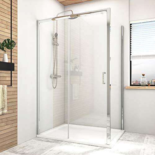 Hausbath Duschkabine 80x120cm Gleittür Schiebetür Duschabtrennung Duschtür 6mm ESG-Sicherheitsglas ohne Duschtasse Einzelrahmen Höhe 185cm