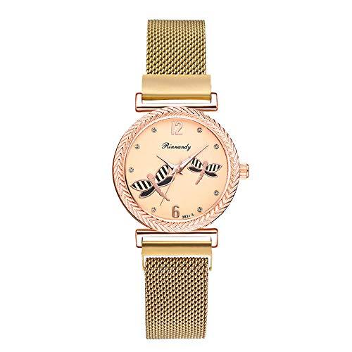 Powzz ornament Reloj de pulsera de cuarzo 2020 con diseño de libélula para mujer, color dorado
