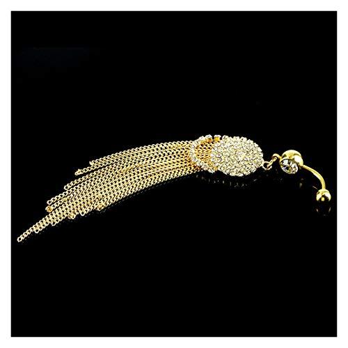Único 1 unids Anillo de botones de la borla larga de moda con Rhinestone Colgante redondo Acero quirúrgico ombligo ombligo Piercing Bell Stud Jewelry Para decoración ( Metal color : Gold color )