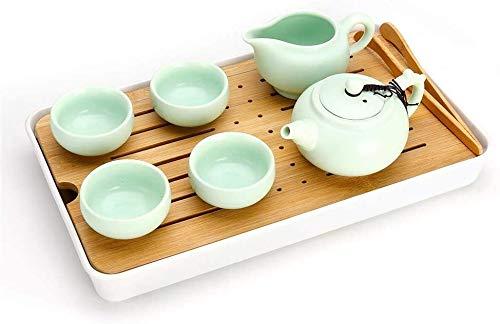 Teteras / Café Juego de ollas de té resistente al calor Viaje portátil premium Kung Fu Tea Juego de té chino hecho a mano Taza de té de porcelana (Color: Verde, Tamaño: Onen Tamaño) Tetera resistente