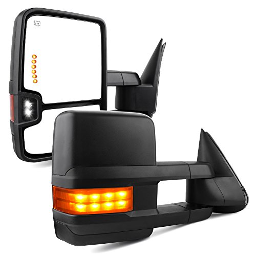 YITAMOTOR Towing Mirrors Compatible with Chevy GMC, Power Heated LED Arrow Signals Backup Lights Tow Mirrors, for 2003 - 2007 Chevy Silverado GMC Sierra, 2003 - 2006 Cadillac Escalade all models