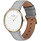 Nordgreen Native Scandinavian Gold Unisex Analog 36mm Watch with Grey Leather Strap