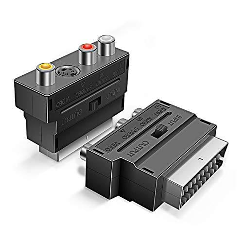 Scart-Stecker auf 3 Cinch- und S-Video-Adapter 2 Stück, Ancable Scart-Stecker auf 3 Cinch-Buchsen, AV auf SCART, Umschaltbarer Composite-AV-Anschluss, Adapter-Wechsler, Audio/Video für TV, DVD, VCRs