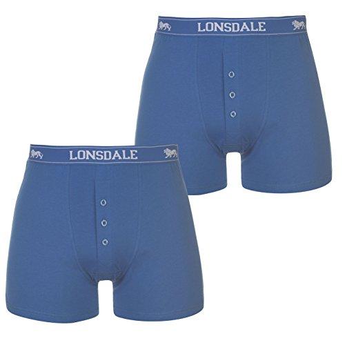 Lonsdale Herren 2 Stück Boxer Unterhose Blau Medium