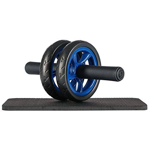 Ultrasport Trainer AB Wheel, Roller e Ruota per Addominali, Ottimo come Attrezzo per il Fitness, Supporto una Dieta Dimagrante, Doppie Rotelle e Base di Appoggio per le Ginocchia, Blu, Taglia Unica