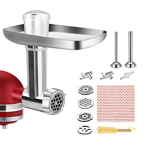 Food Meat Grinder Attachments for KitchenAid Stand Mixers, Sausage Stuffer Attachment Compatible with KitchenAid Stand Mixers, includes Two Sausage Stuffer Tubes, 3 Grinding Blades,3 Grinding Plates