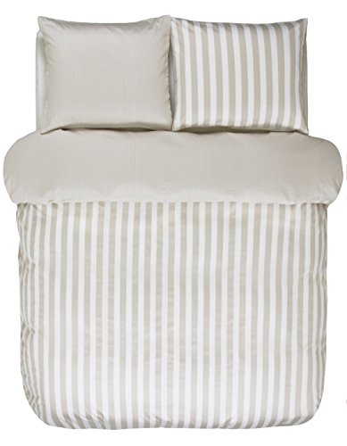 Marc O Polo Bettwäsche Classic Stripe Oatmeal 1 Bettbezug 135x200 cm + 1 Kissenbezug 80x80 cm