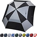 G4Free Automatischer Golf-Regenschirm, doppelter Baldachin, quadratisch, extragroß, belüftet, winddicht, Stockschirme für Damen und Herren (Schwarz/Grau)