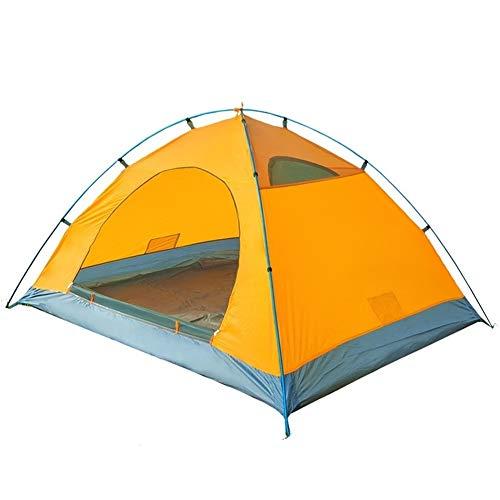 TEVISE Tente extérieure Double Double antipluie Équipement Camping Pôle Aluminium Ouverture Rapide Installation Facile (Color : Yellow)