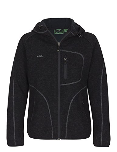 Jeff Green Damen Strick Fleece Jacke Kapuze Sligo,Schwarz,42