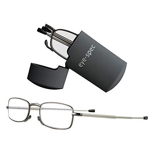 eye-tech   plegable gafas de lectura con funda abatible disponible en color gris y negro (+ 1,00, + 1,25, + 1,50, + 1.75, + 2,00, + 2,25, + 2,50, + 2,75, + 3.00) por eye-spec