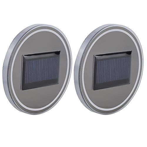HERCHR Sottobicchieri portabicchieri da 2 Pezzi per Auto, con Accessori per luci a LED ad energia Solare(Rosso)