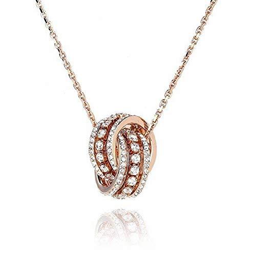 Thumby vrouwen Western Trend Mode Geometrische Plating Ketting Rose Goud Diamant Stereo Dubbele Ring Transfer Kralen Precisie Ketting