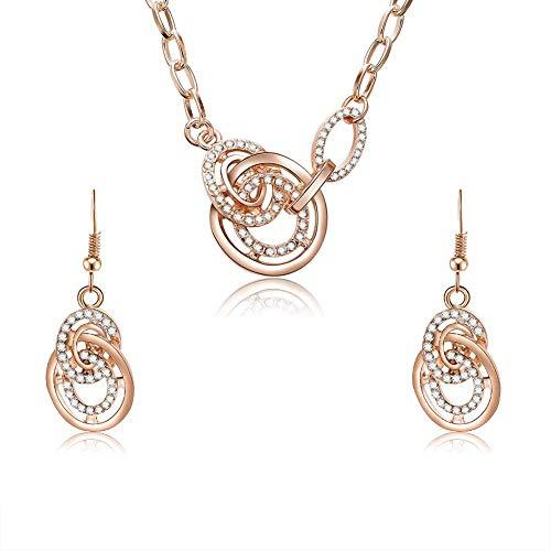 N-K PULABO - Juego de collar y pendientes de diamantes de imitación redondos con forma de cruz geométrica para mujer, color oro rosa