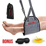 ZIDELI Portable Hammock Footrest for Airplane Travel - Reduces Foot Swelling and Back Soreness - Must Have Travel Accessory - Soft and Comfy Foot Hanger for Flight Bus Car Train Office Desk (Grey)
