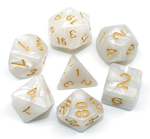 DND Dice Set Pearl White RPG 7-Die Dice Set Fit Dungeons and Dragons(D&D) Pathfinder MTG Role Playing Games Polyhedral Dice with Dice Pouch