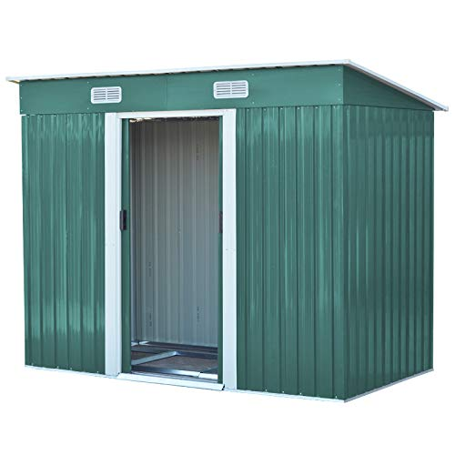 The Fellie Garden Storage Shed, Garden Pent, Metal Shed Tool Storage Green house With Roof and Door, 4ftx8ft with Foundation