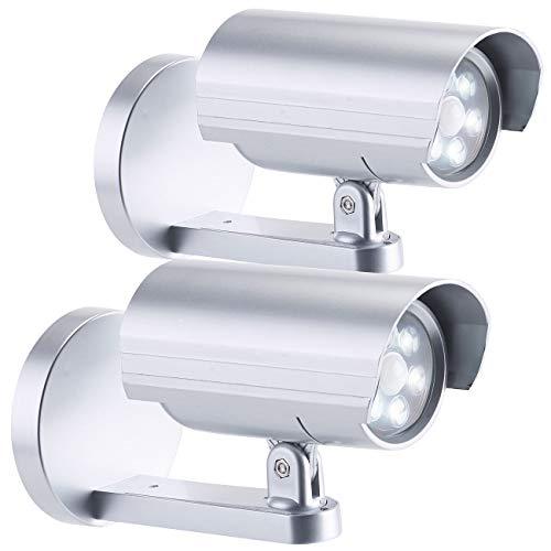 Lunartec Außenkamera Attrappe: 2er-Set 2in1-Dummy-Außen-Kameras & -Leuchten mit Bewegungsmelder, IP44 (Überwachungs-Dummy)