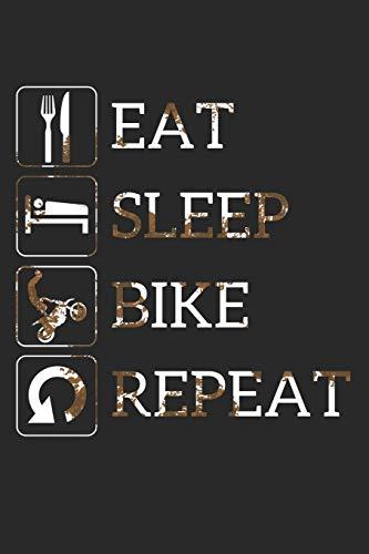 Grand Fantasy Designs - Notes: Eat Sleep Bike Repeat Crossbike Dirt - Notebook 6x9 checkered