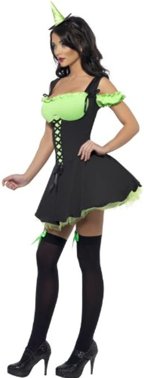 (Women  810)  Smiffy's Fever Wicked Witch with Dress and Hat  Green, Small