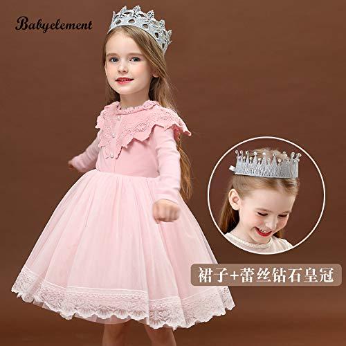 don997gfoh08yewi Meisjes jurk herfst 2019 nieuwe buitenlandse kinderkleding herfst meisje herfst lange mouwen herfst rokFairy Poeder + Silver Diamond Kroon