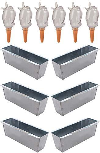 Novaliv 6X Pflanzkasten verzinkt mit 6X Wasserspender Bördy M Blumenkasten Balkonkasten Pflanzgefäß für Blumenregal (6, Transparent)