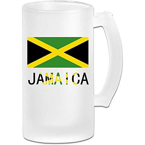 NHJYU Jarra de Cerveza Jamaica Flag Frosted Glass Stein Beer Mug - Personalized Custom Pub Mug- Gift for Your Favorite Beer Drinker