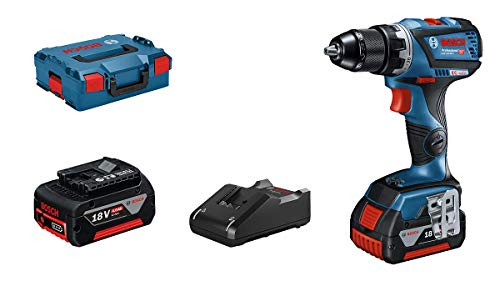 Bosch Professional 18V System cordless drill driver GSR 18V-60 C (max. torque of 60 Nm, incl. 2 x 4.0 Ah rechargeable batteries, GAL 18V-40 charger, L-BOXX 136)
