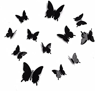 Jaamso Royals '3D Butterflies' Wall Stickers (Plastic, 60 cm x 0.1 cm x 60 cm, Black, Set of 12)
