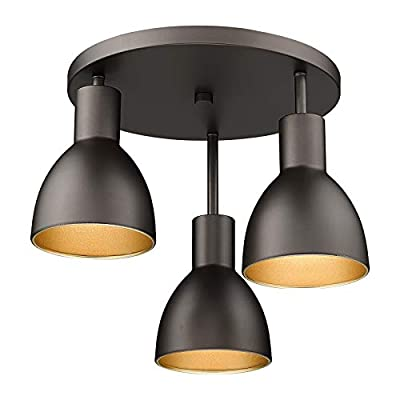14'' Semi Flush Mount Ceiling Light, HWH 3-Light Close to Ceiling Light Fixture, Vintage Oil-Rubbed Bronze Finish for Porch, Hallway, Entryway, Dining Room, Living Room, Bedroom, 5HZG33F-3W ORB