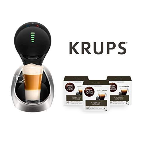 Krups Cafetera automática Movenza + 48 cápsulas Nescafé Dolce Gusto Espresso Intenso (3 x 16 cáp.) (Silver + 48 cápsulas Dolce Gusto Expresso Intenso)
